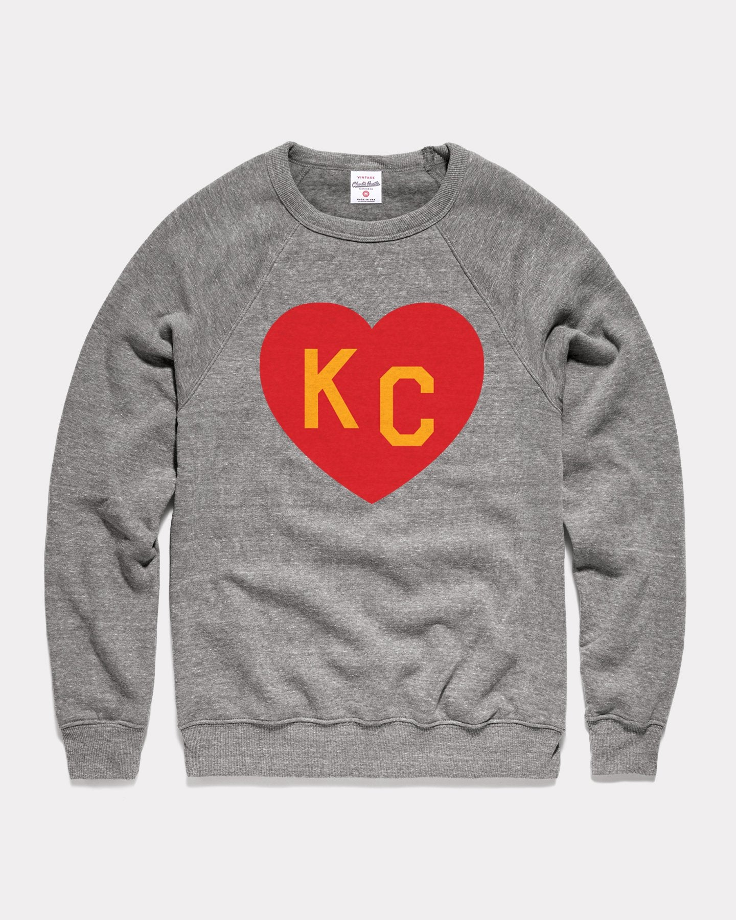 Grey & Red Arrowhead Kingdom KC Heart Vintage Crewneck Sweatshirt
