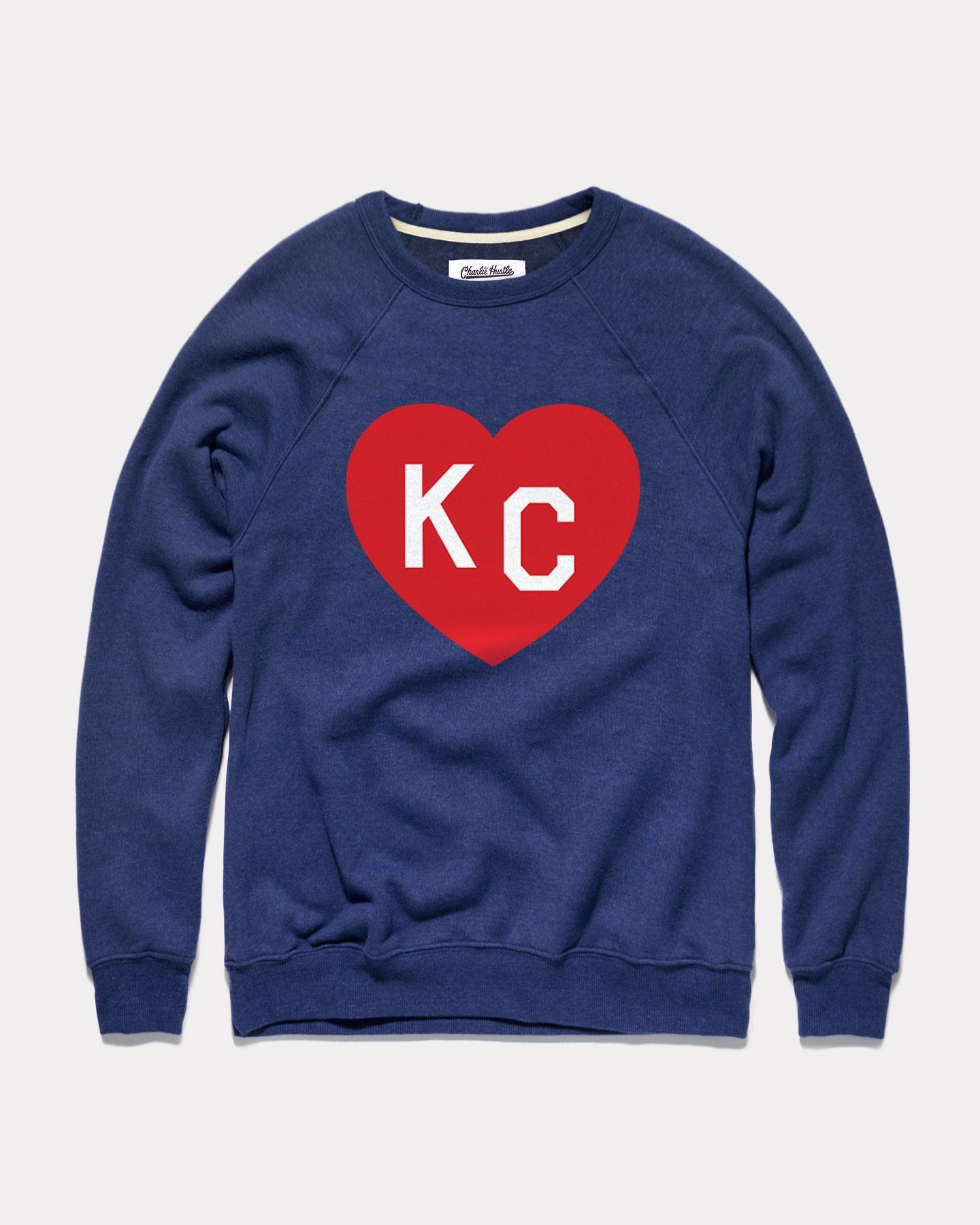 Heather Navy KC Heart Vintage Crewneck Sweatshirt