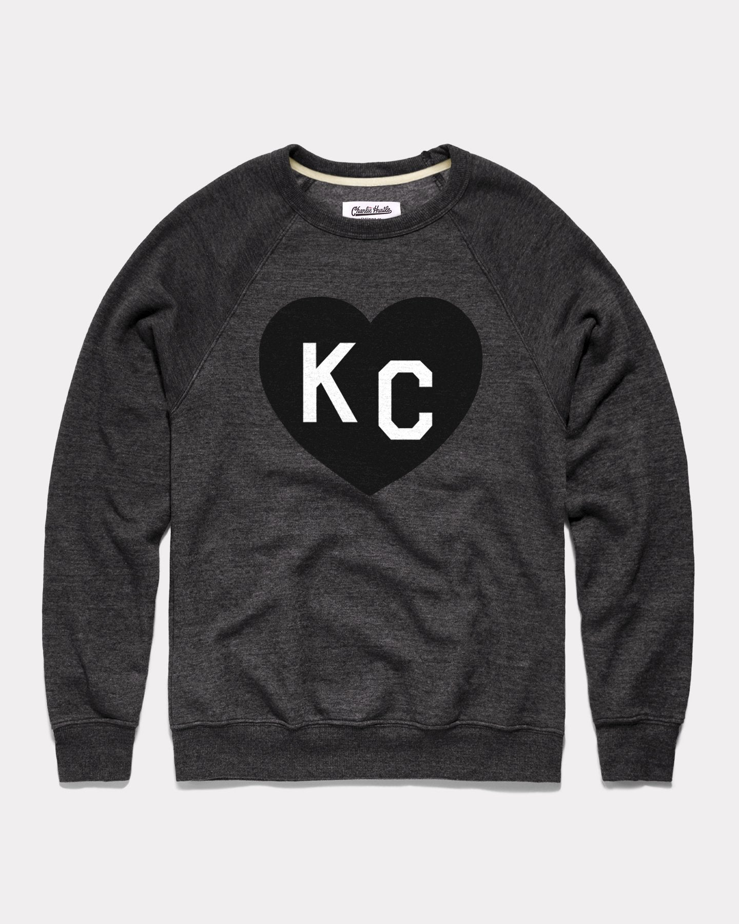 Black KC Heart Vintage Crewneck Sweatshirt
