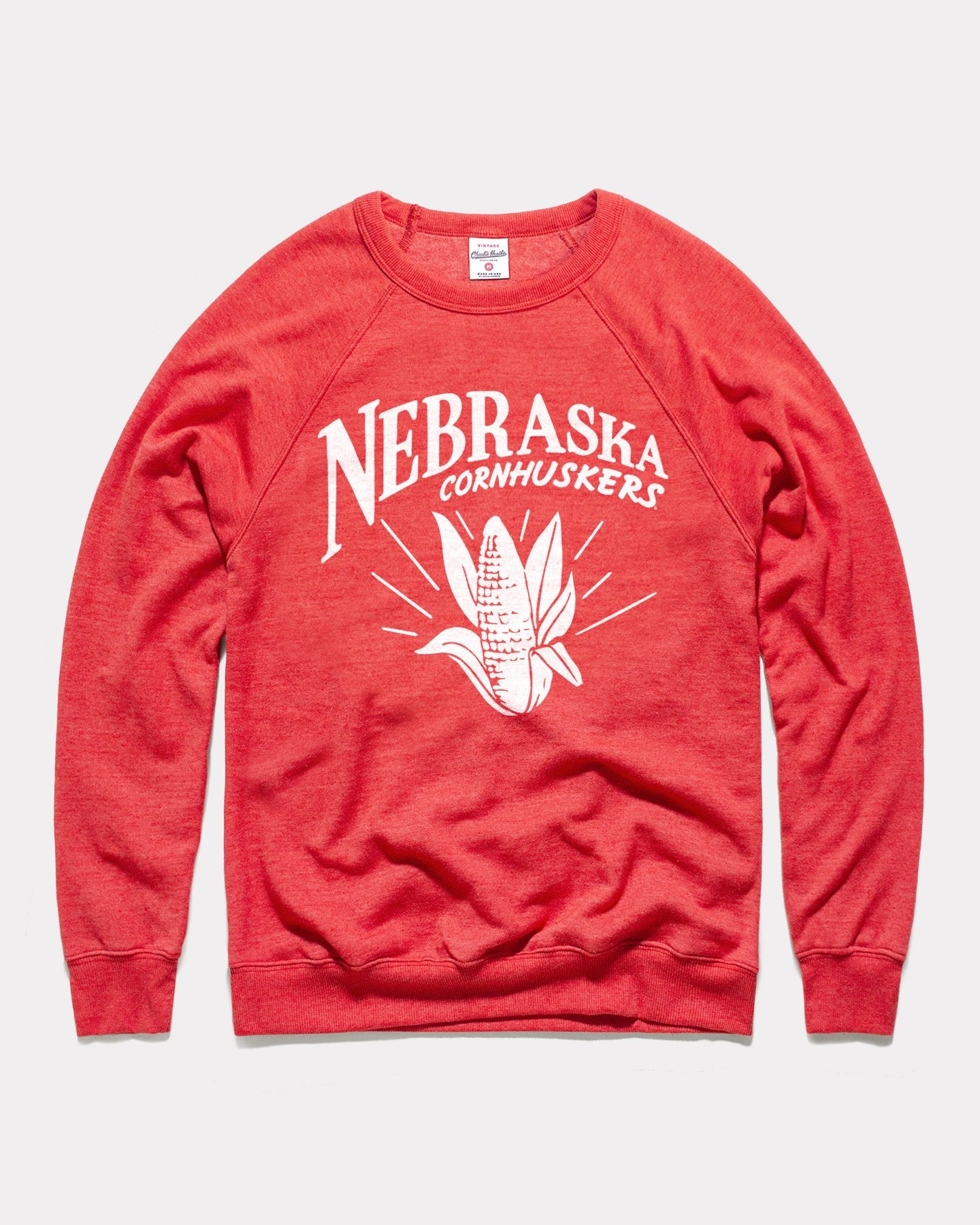 Red University Of Nebraska Cornhuskers Pennant Vintage Crewneck Sweatshirt