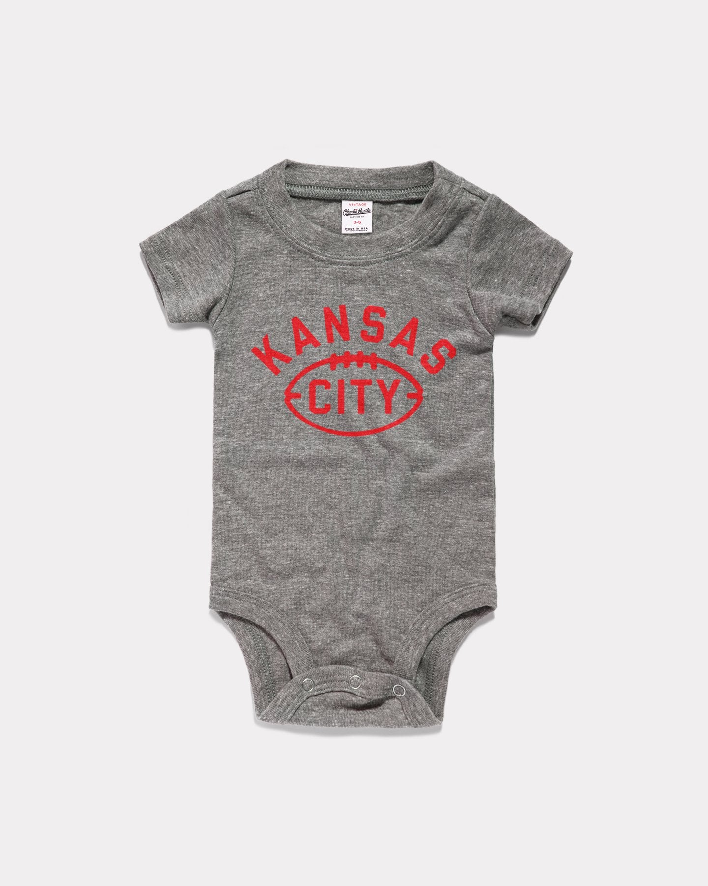 Grey Kansas City Football Vintage Arrowhead Onesie