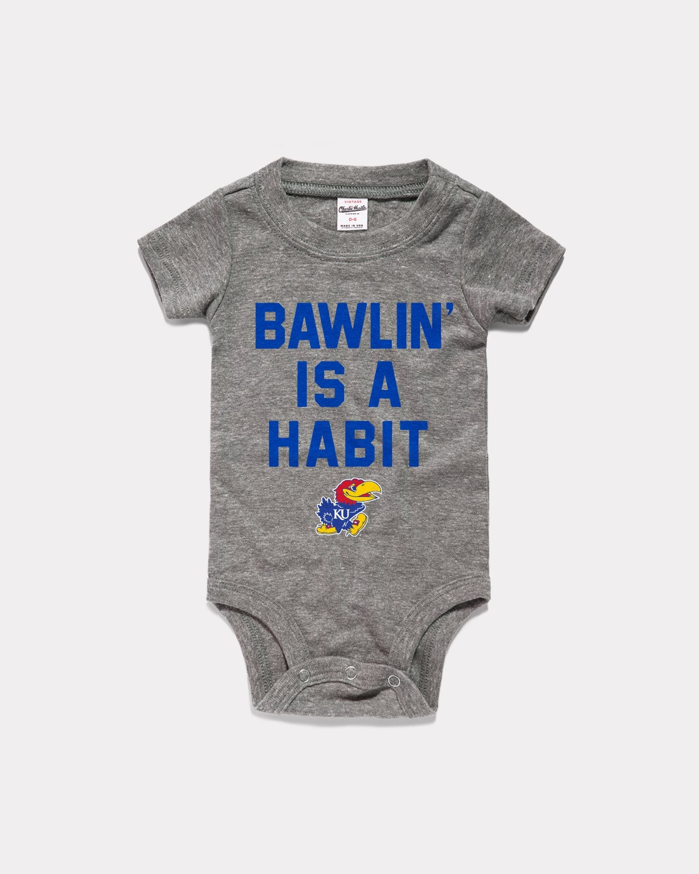 Grey Bawlin' Is A Habit Vintage Kansas Jayhawks Baby Onesie
