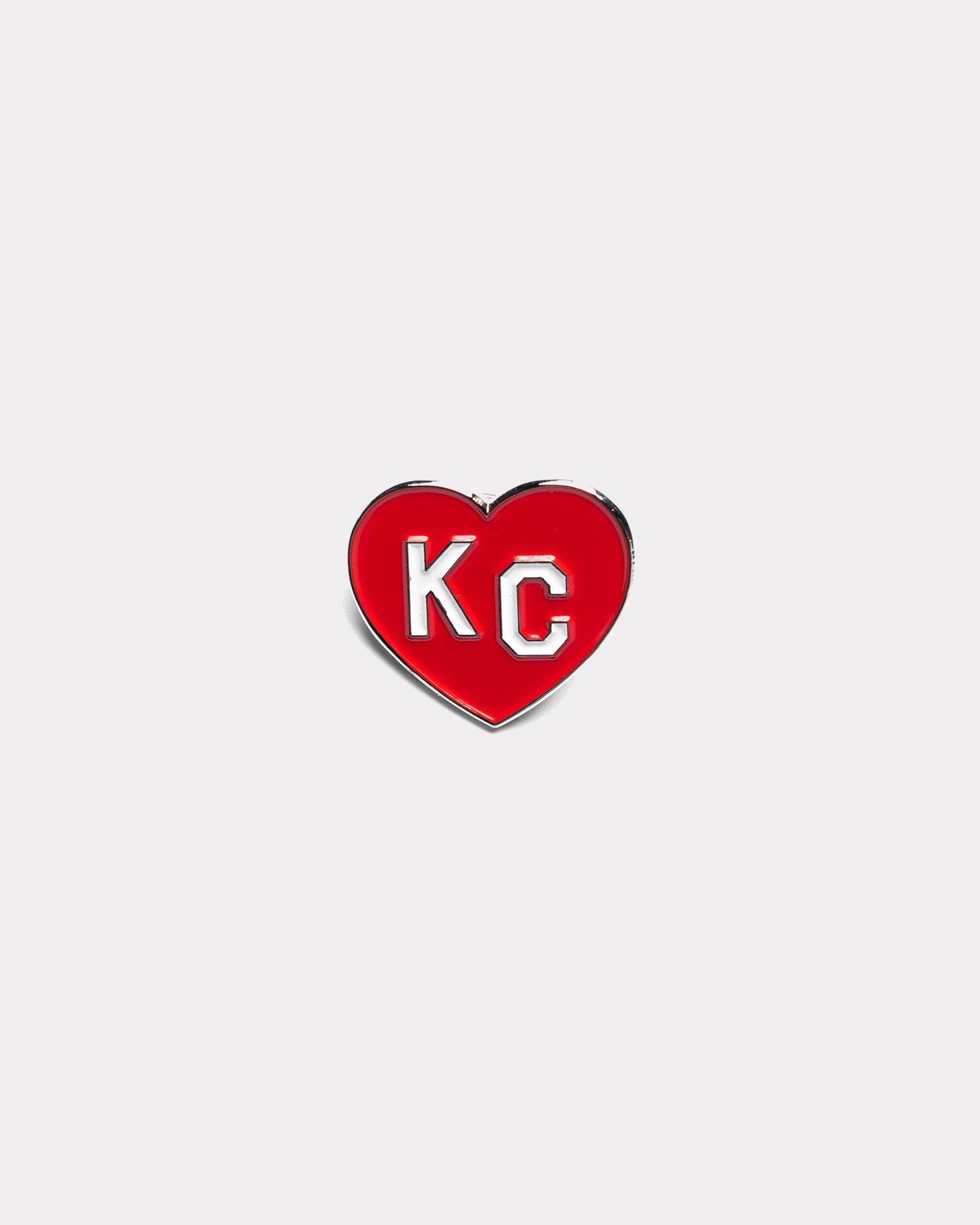 Red Charlie Hustle KC Heart Enamel Pin