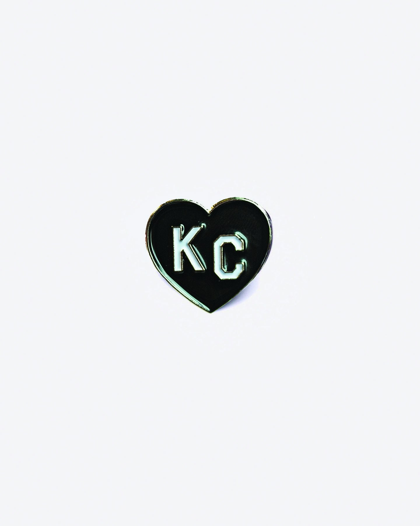 Black KC Heart Enamel Lapel Pin