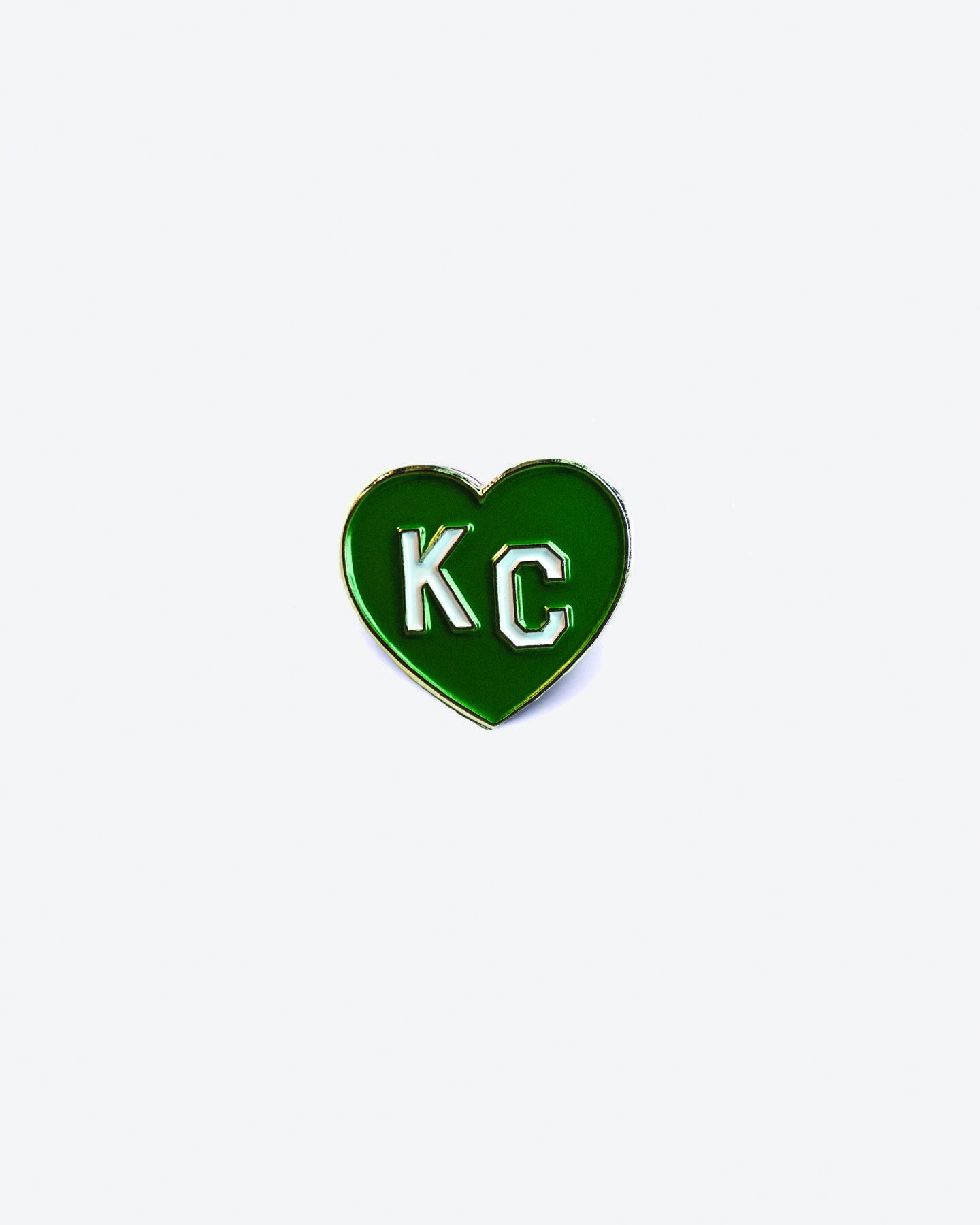 Green KC Heart Enamel Lapel Pin