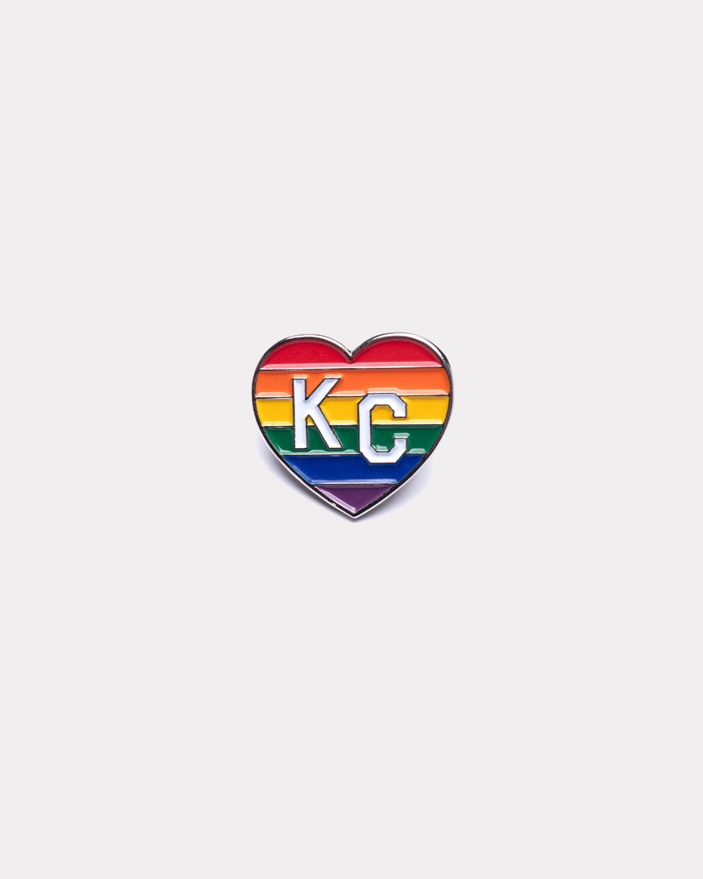 Rainbow Charlie Hustle Pride KC Heart Enamel Pin