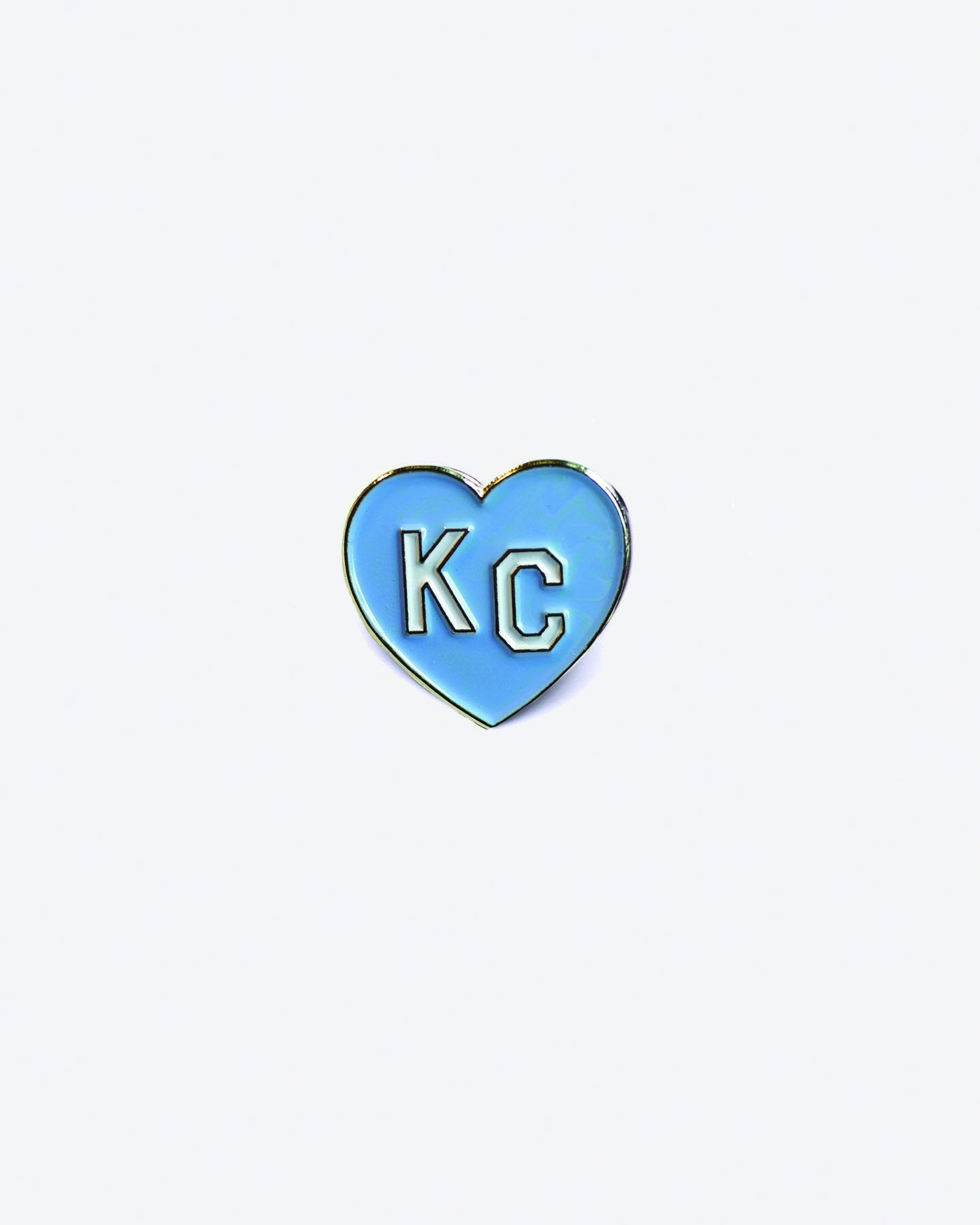 Light Blue KC Heart Enamel Lapel Pin