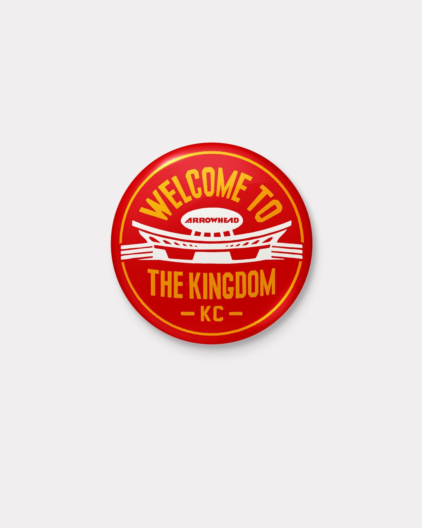 Red & Yellow Welcome To The Kingdom Arrowhead Button
