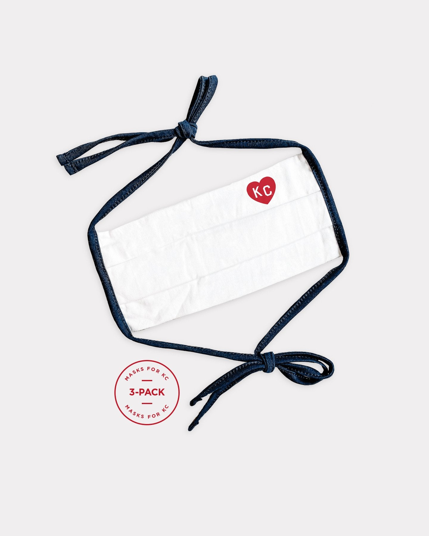 White & Navy KC Heart Comfort Face Masks 3-Pack