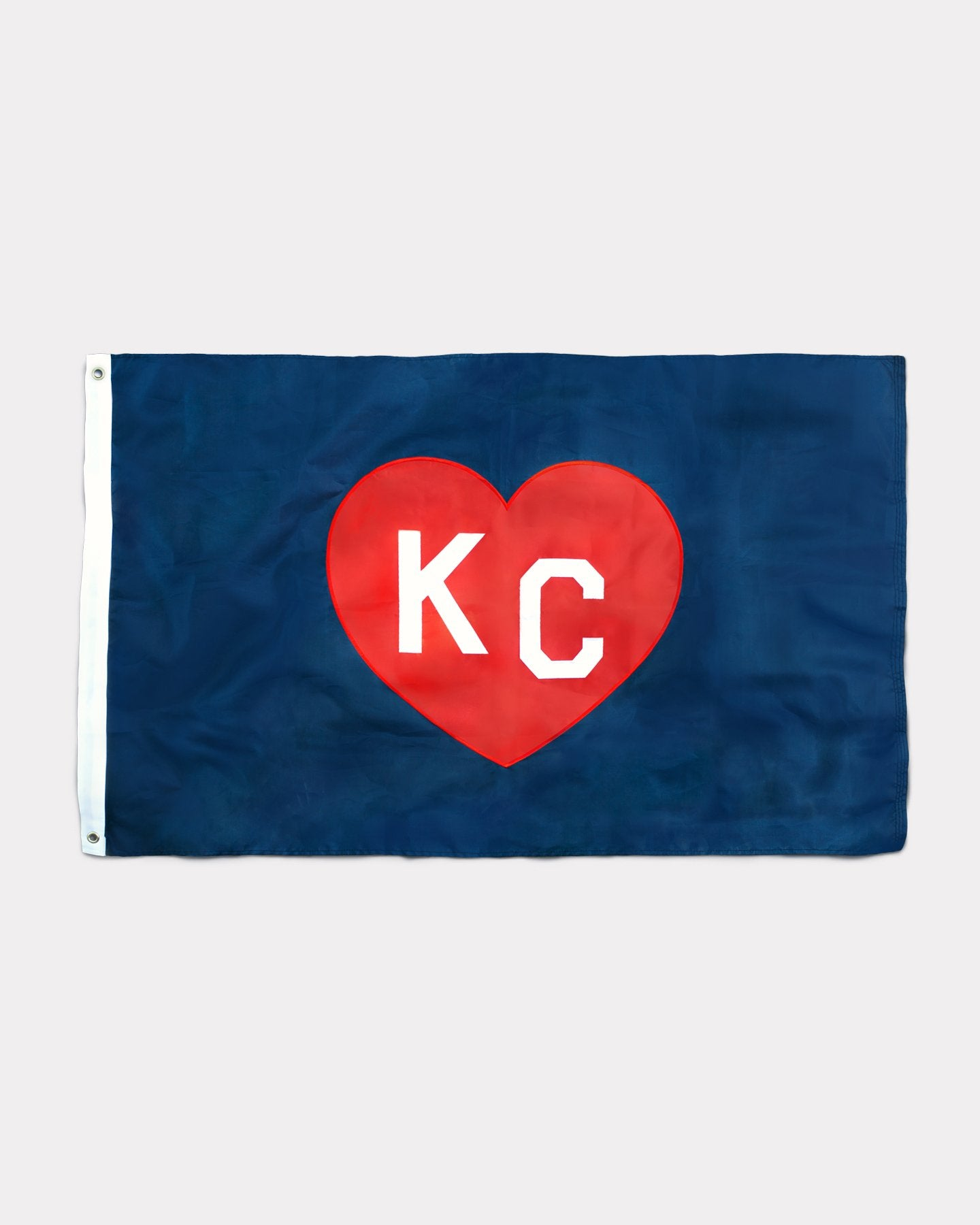 Navy & Red Embroidered Nylon Two-Sided KC Heart Flag