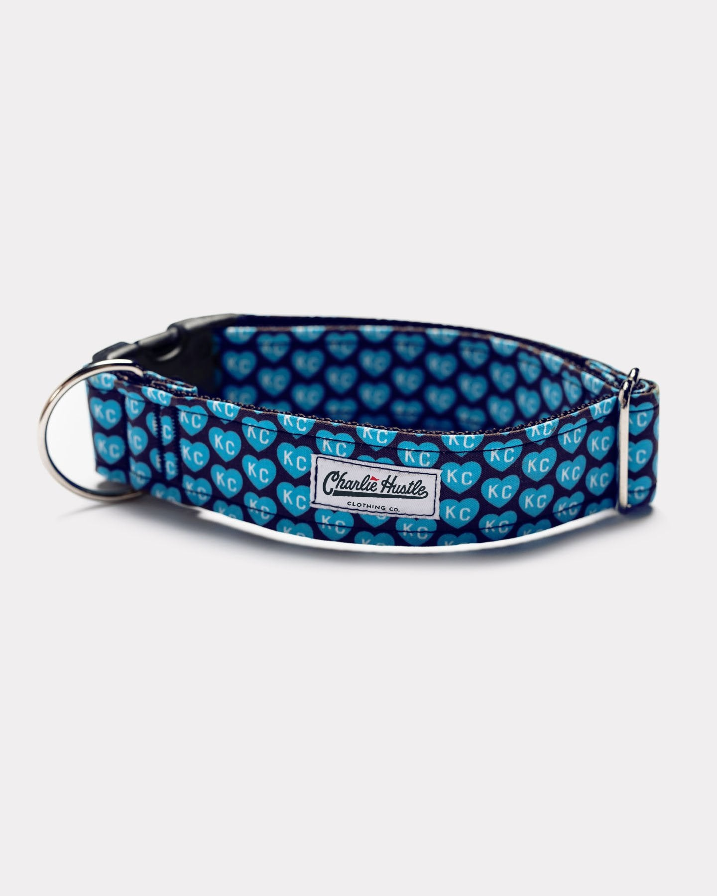 Light Blue Kansas City Pet Project KC Heart Dog Collar