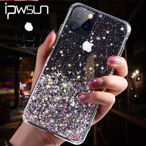 iPWSOO Glitter Foil Powder Case For iPhone 11 Pro XS Max XR X Bling Phone Case For iPhone 11 8 7 6 6s Plus Soft TPU Clear Cover - Mar Popular Store