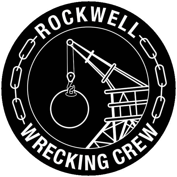 Rockwell Wrecking Crew logo with a wrecking ball in the center surrounded by chains