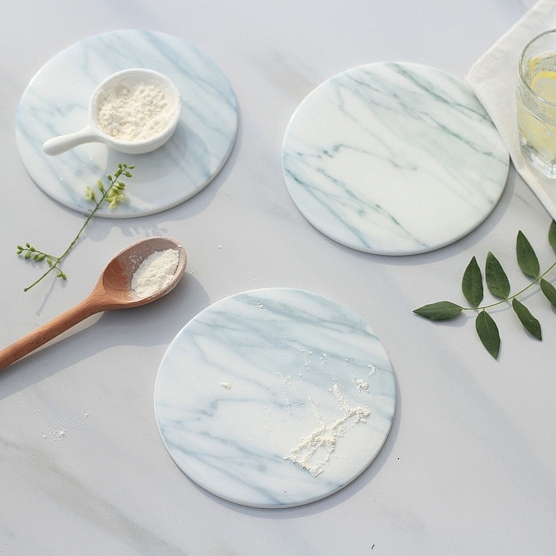 2pcs/pack Marble Grain Ceramic Coaster Cup Mat Pad