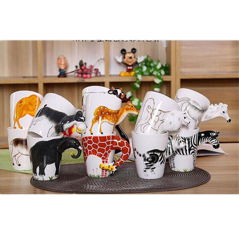 3D Animal Dinosaur Handle Ceramic Coffee Mug Cup
