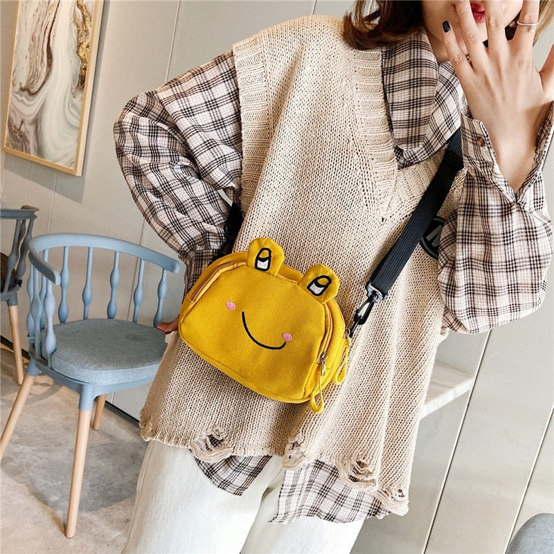 Cute Colorful Ugly Frog Canvas Purse Shoulder Bag