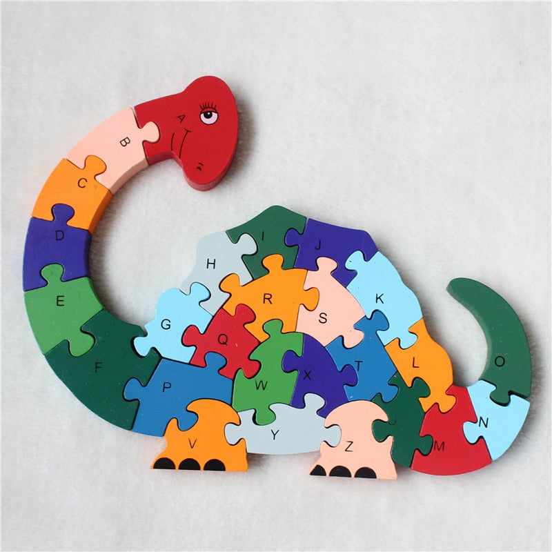 Long Neck Dinosaur Wooden Jigsaw Puzzle Educational Toys