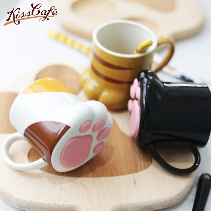 Puffy Cat Paw Ceramic Coffee Mug with Lid