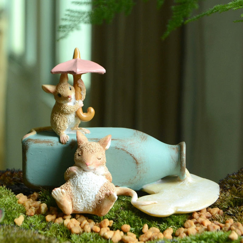 Cute Mini Mouse Figurine Balcony Home Garden Decoration