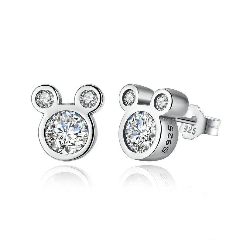 Cute Dazzling Mouse 925 Sterling Silver Stud Earrings