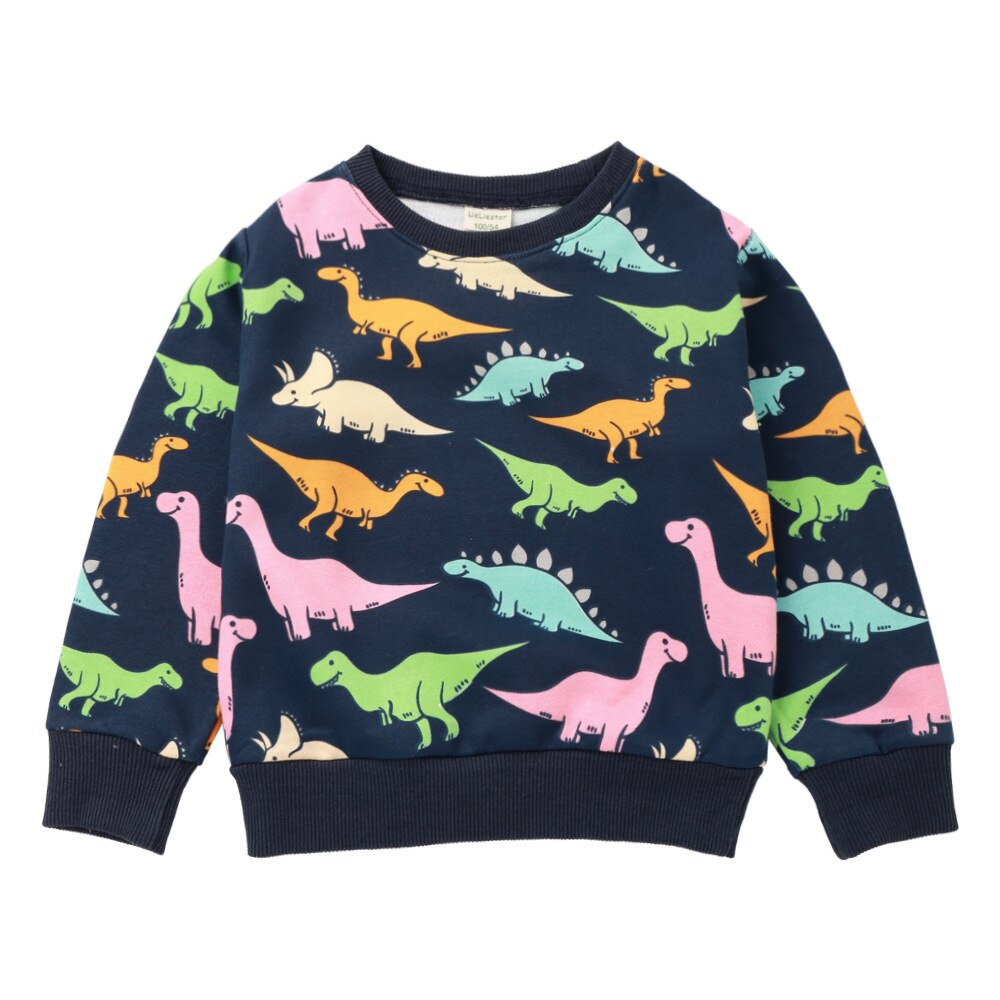 Cute Dinosaur Round Neck Cotton Sweatshirts for Kids