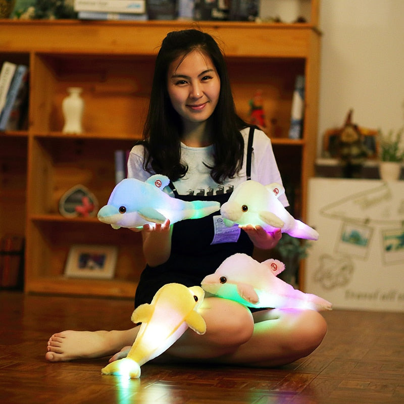 32cm Creative Luminous Plush Dolphin Doll Glowing Pillow Colorful LED Light  Animal Toys