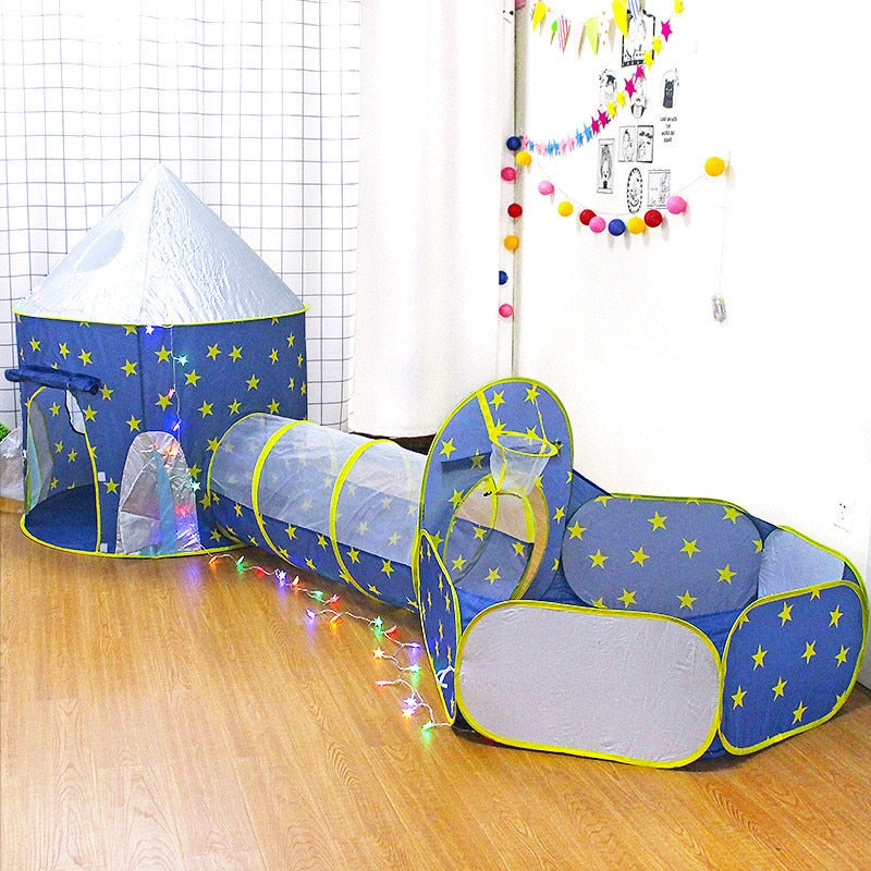 3 In 1 Spaceship Rocket Play Tent House for Kids