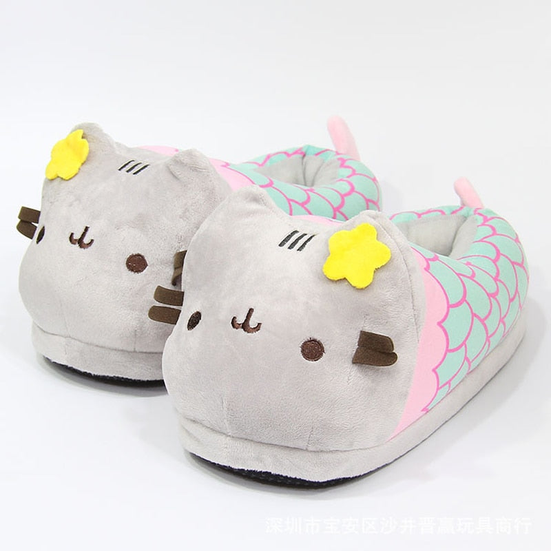 Cartoon Mermaid Cat fox Short Plush Indoor Slippers Shoes