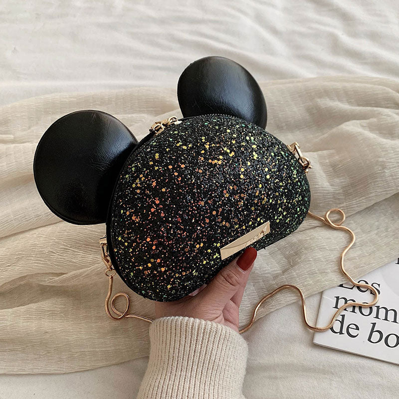 Sequins Cartoon Mouse Ears Design Girl's Shoulder Bag Purses Handbag