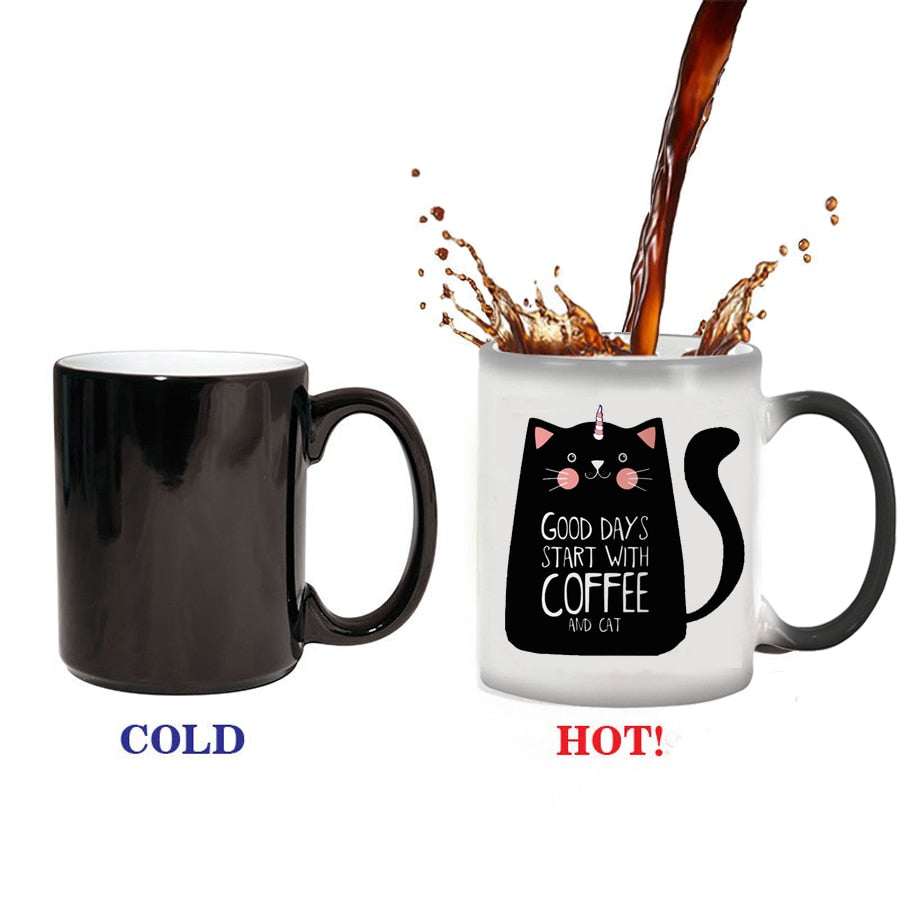 Good Days Start With Coffee And Cat Magic Color Changing Heat Mug