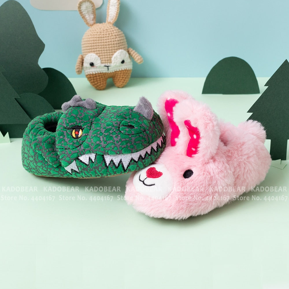 Cartoon Dinosaur Bunny Fur Plush Indoor Kids Slippers