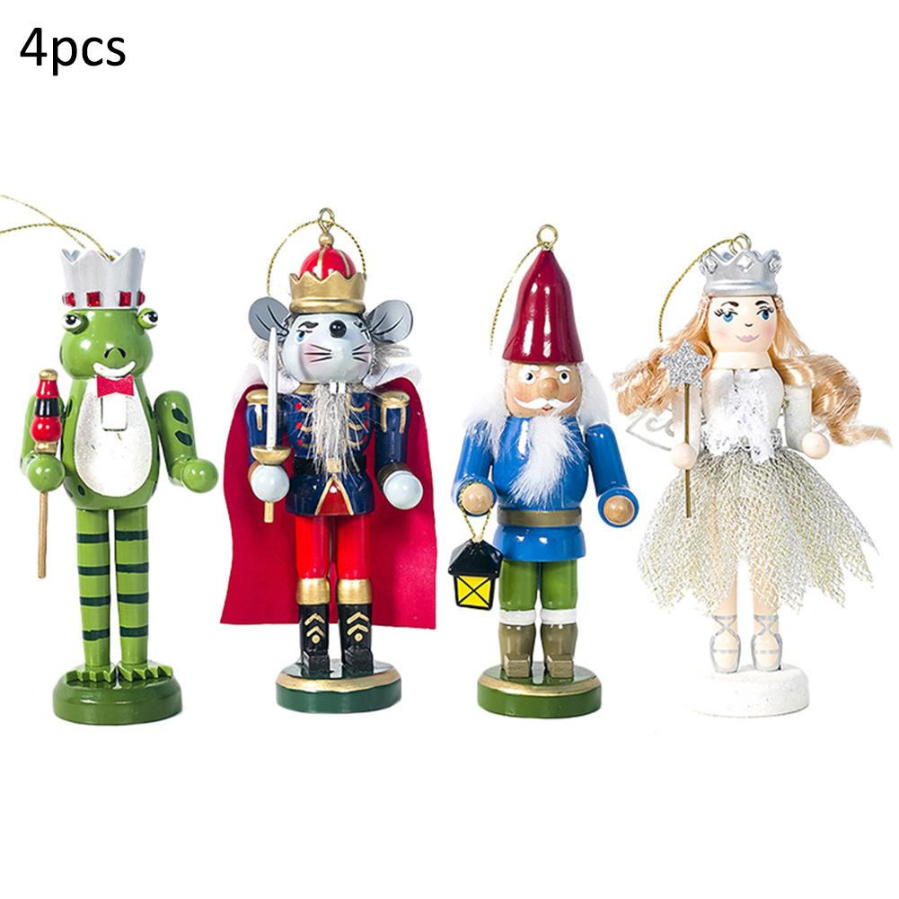 4pcs/set Nutcracker Wooden Doll Puppet Christmas Ornaments Home Decoration
