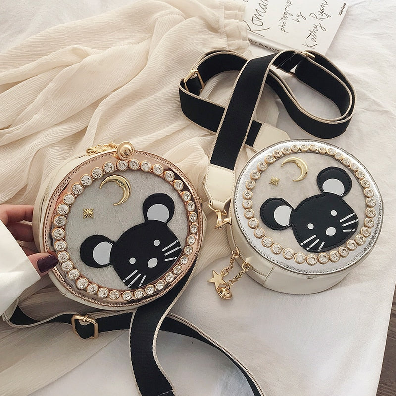 Cartoon Mouse Rat Round Diamond Handbags Purse Bag