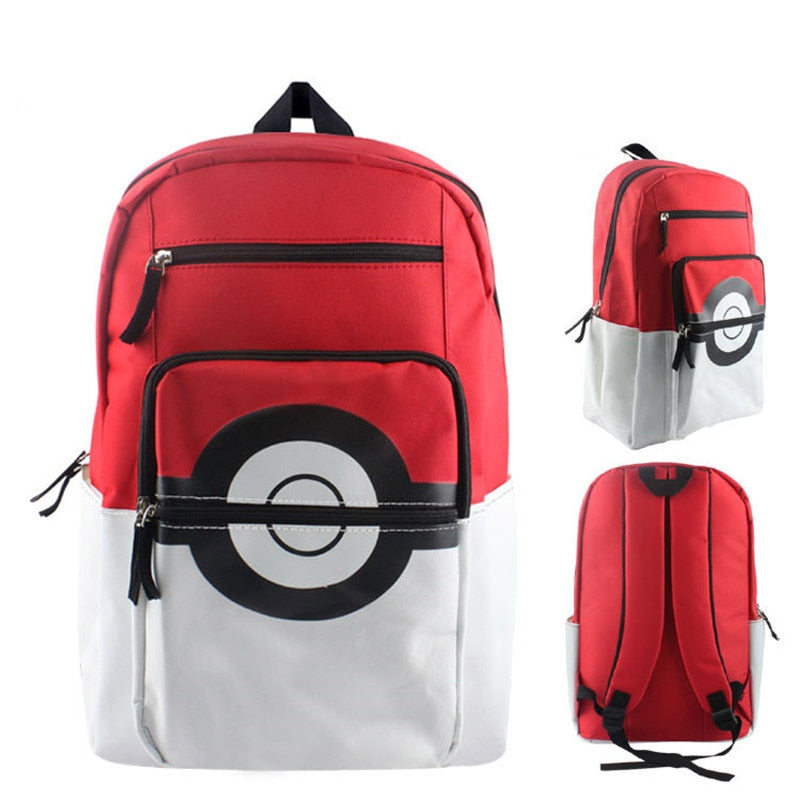 Red/White Pokeball Pokemon Pikachu School Bag Backpack