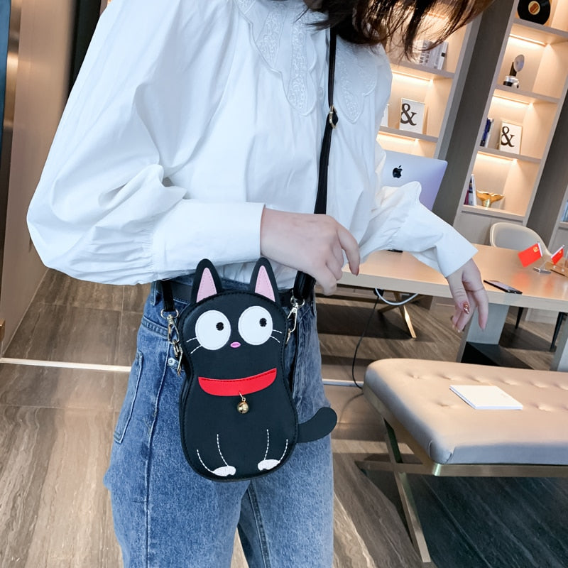 Cartoon Black Cat Purse Handbag Casual Shoulder Bag