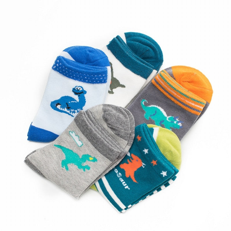 5 Pairs Cartoon Dinosaur Children Cotton Socks