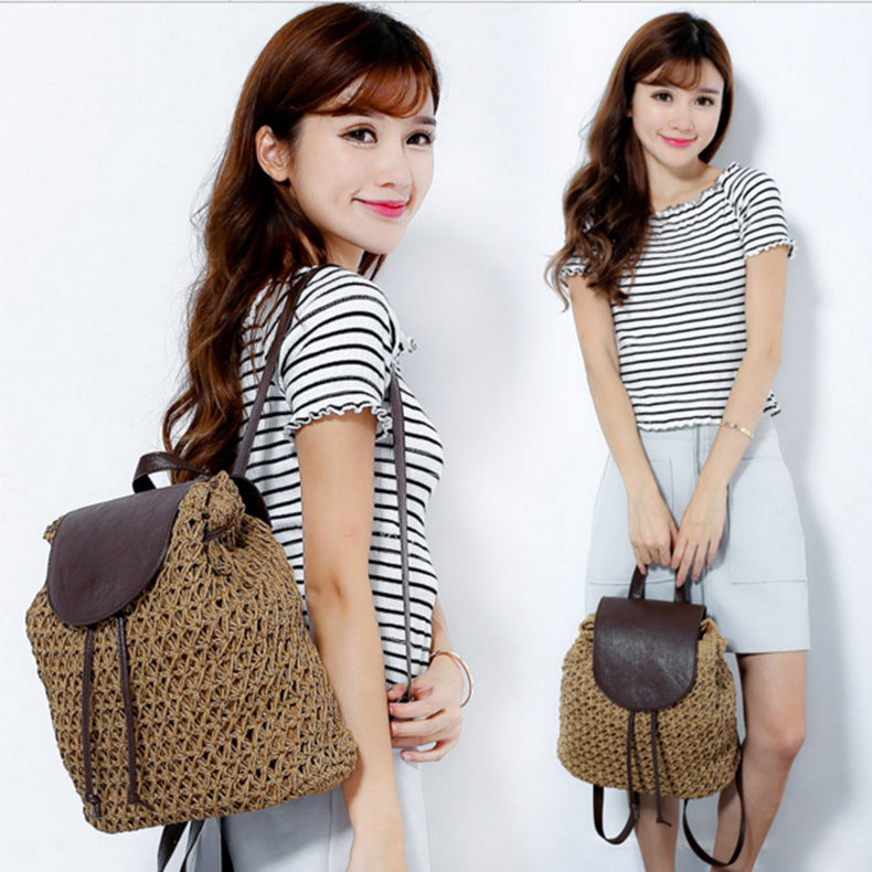Crochet Straw Ratten Knitted Drawstring Daypack Straw Bag Backpack
