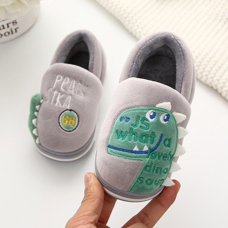 Cute Dinosaur Warm Fur Home Slippers Shoes for Kids
