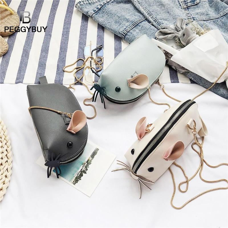 Cute Mouse Mini Leather Purse Shoulder Bag for Girls