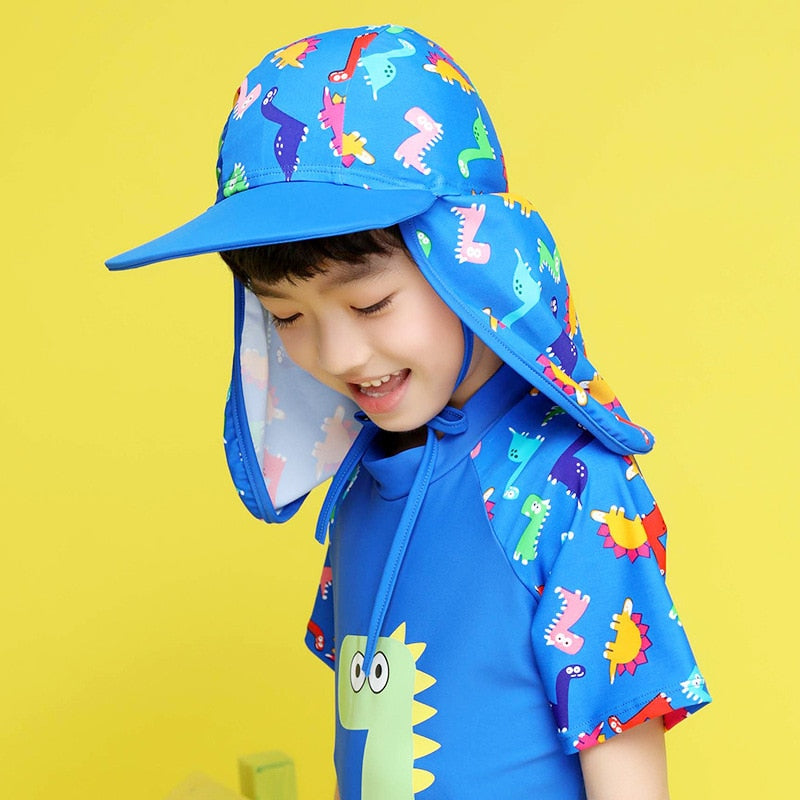 Dinosaur Kid UV Protection Fishing Hat Neck Ear Cover Cap