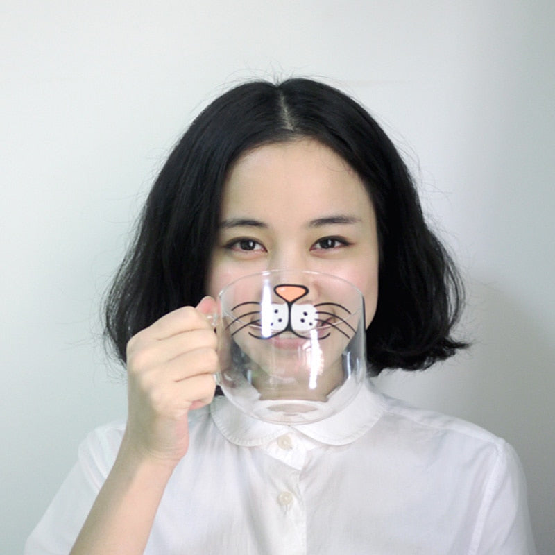 Funny Cat Pig Beard Mouth Glass Mug Milk Cups