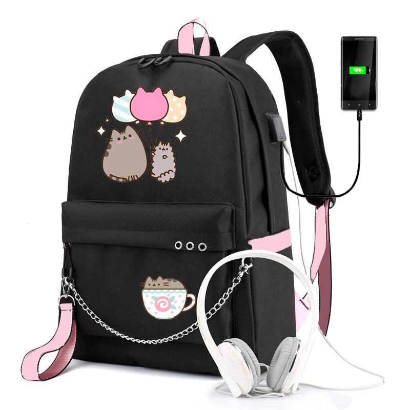 Cute Cartoon Cat Large Capacity School Bag Backpack For Girls