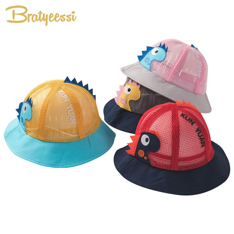 Cute Dinosaur Cotton Mesh Baby Summer Hat Cap for Kids
