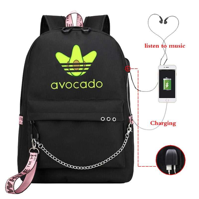 Funny Avocado Print Canvas Laptop Backpack School Bag