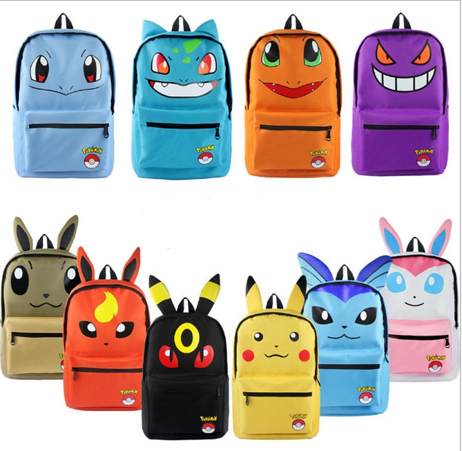 Anime Pokemon Monster Canvas Backpack School