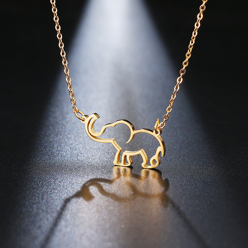 Stainless Steel Necklace For Women Lover's Origami Elephant Pendant Necklaces