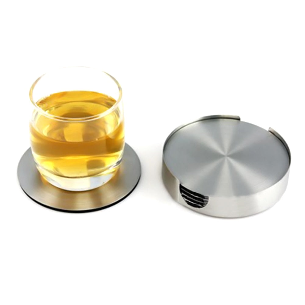 6 PCS Stainless Steel Round Coaster Cup Holder