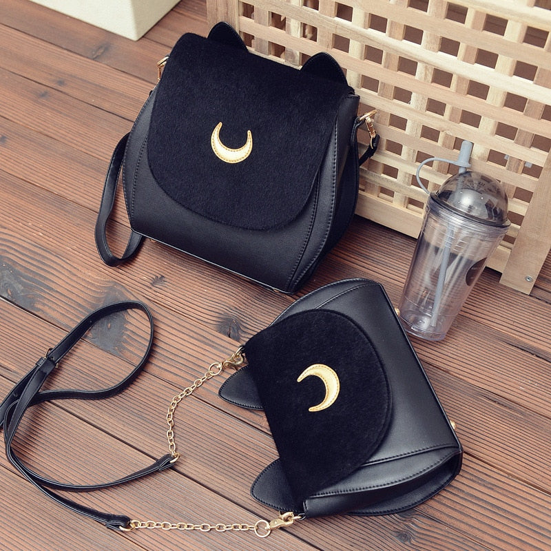 Black Lunacat Sailor Moon Leather Shoulder Bag