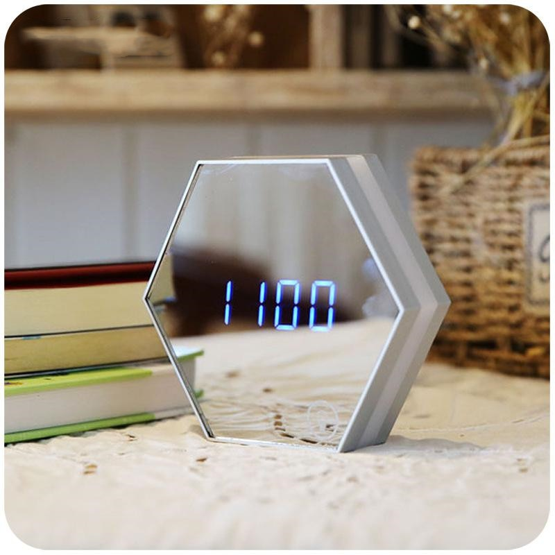 Modern Hexagon Multifunction LED Digital Mirror Rechargeable Alarm Wall Clock