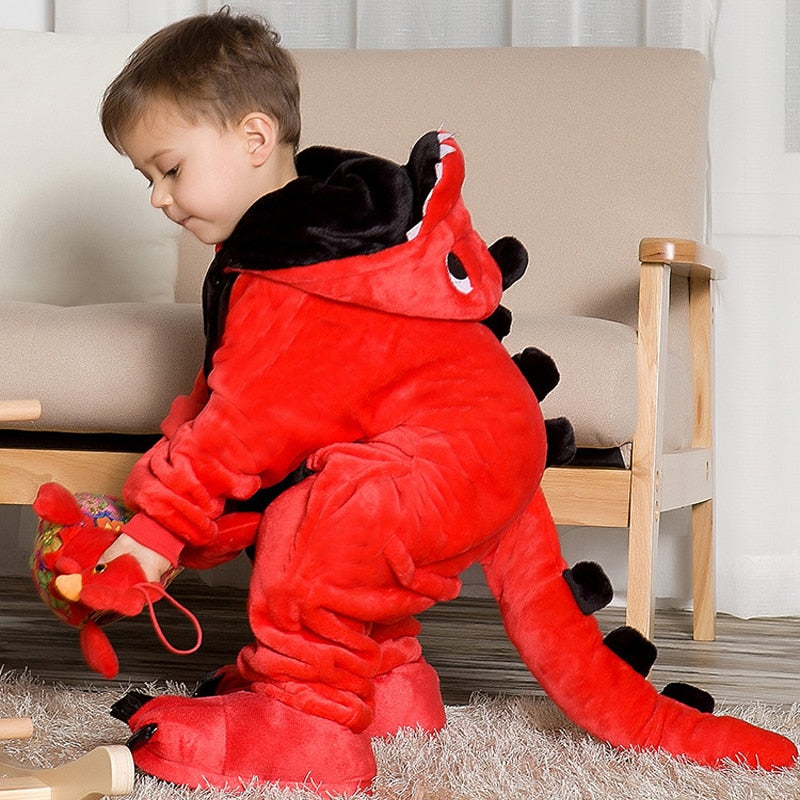 Cartoon Dinosaur Animals Children's Pajamas Jumpsuit Hoodie